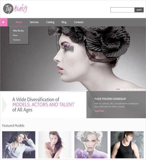modern and colourful fashion model agency psd template