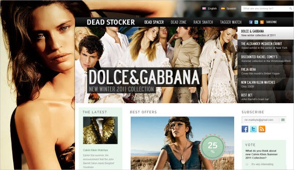 free creative fashion store psd template