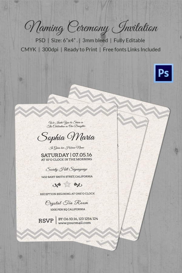Premium Naming Ceremony Invitation Download