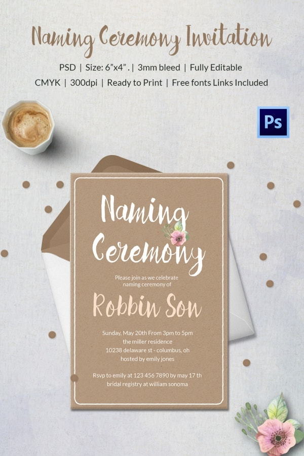 First Naming Ceremony Invitation Card