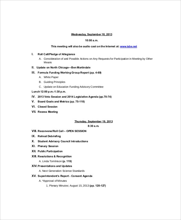 12 Strategy Meeting Agenda Templates Free Sample Example – Sample Agenda Planner