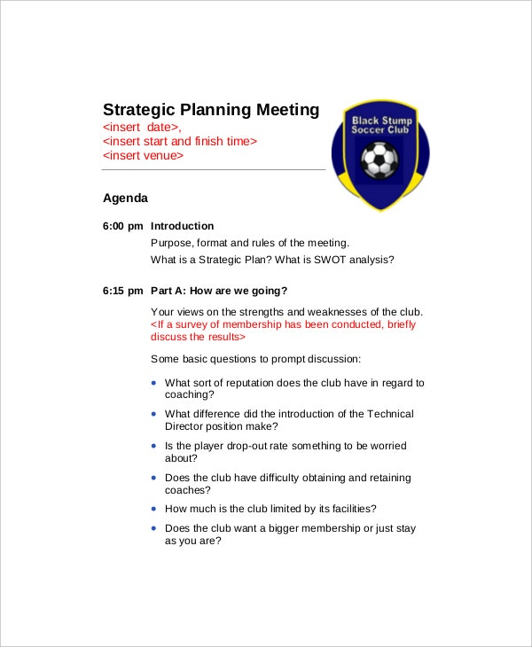 Strategic Planning Meeting Agenda Sample