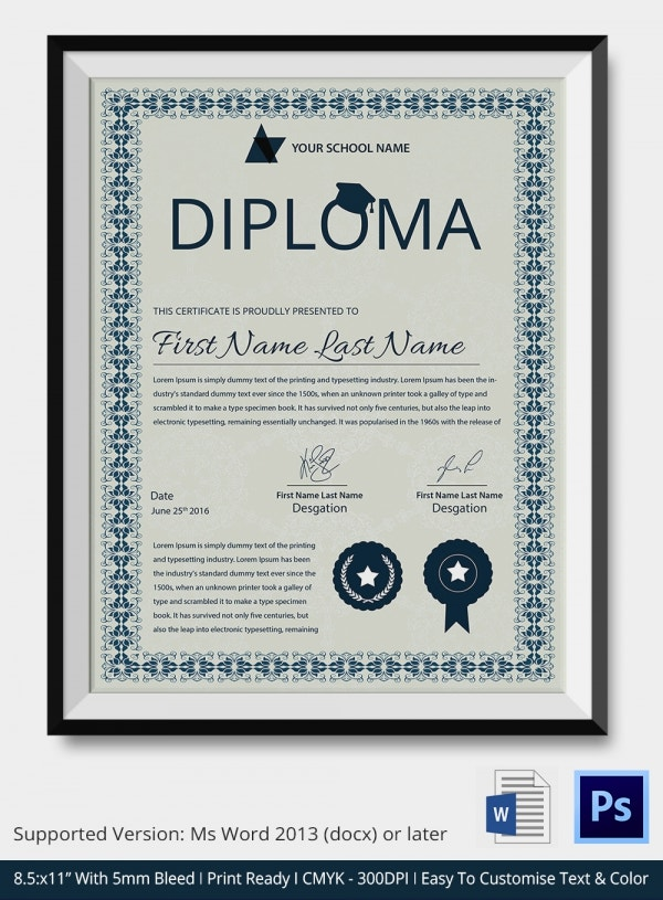 Diploma Certificate Template In PSD And MS Word Format  Certificate Samples In Word Format