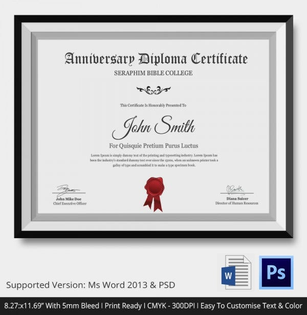 Anniversary Diploma Certificate Template PSD Download