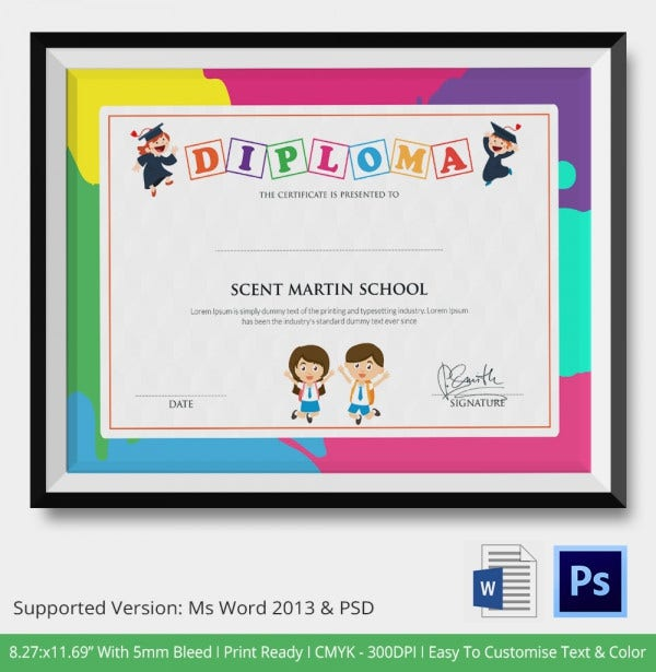 Diploma Certificate Template 25 Free Word PDF PSD EPS – Certificate Template for Kids