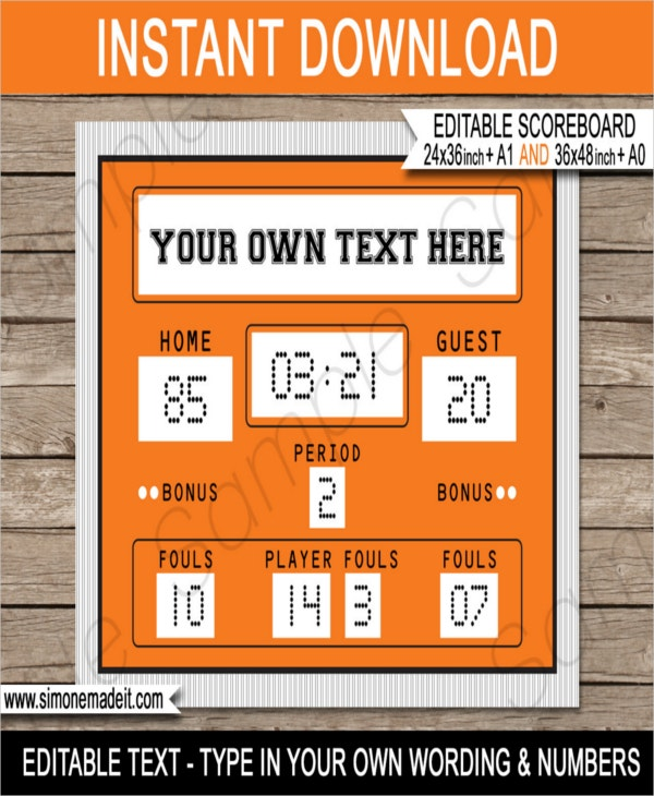 Basketball Scoreboard Template   Word Pdf Documents Download