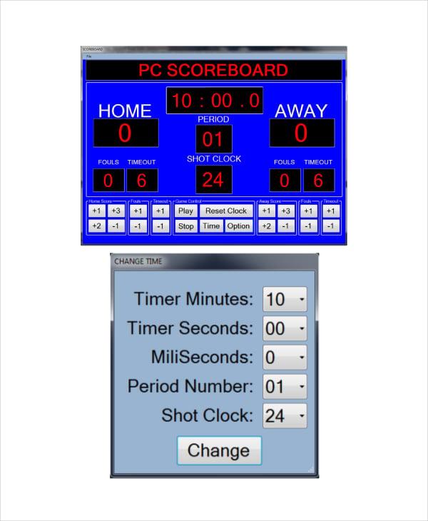 basketball scoreboard template � 8 word pdf documents