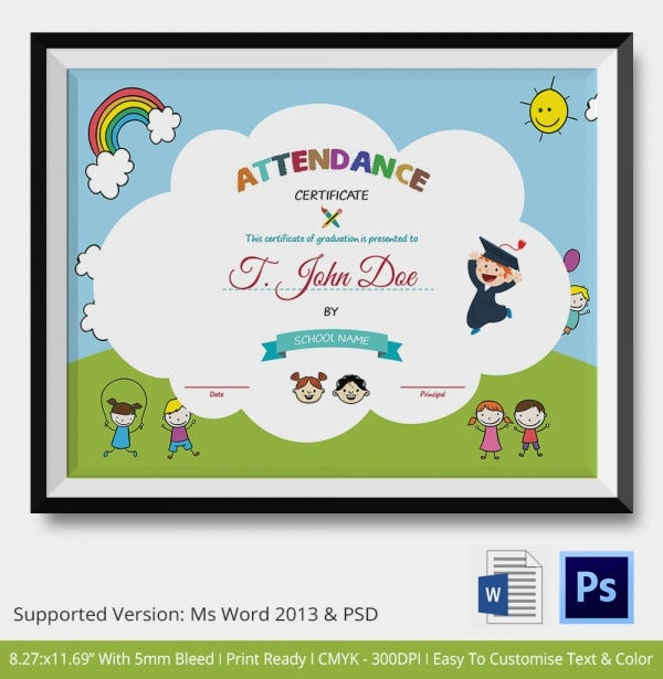 Attendance Certificate Format for School Students