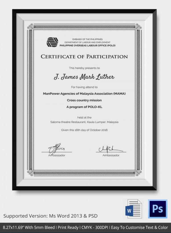 Certificate of Participation Template Download