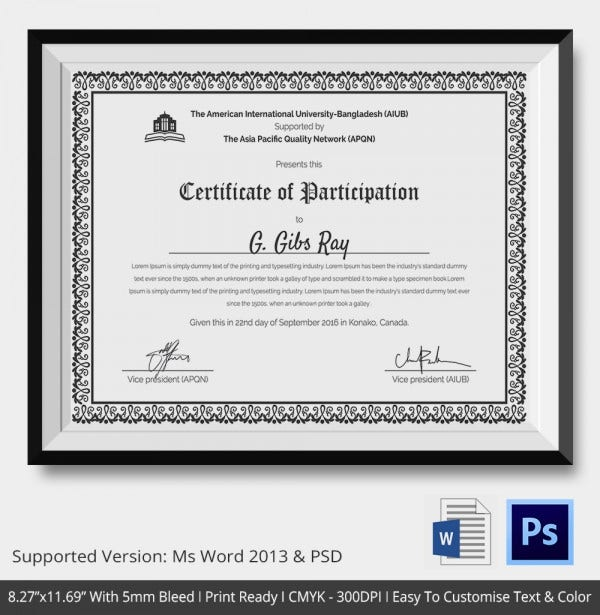 Participation Certificate Template - 14+ Free Word, Pdf, Psd