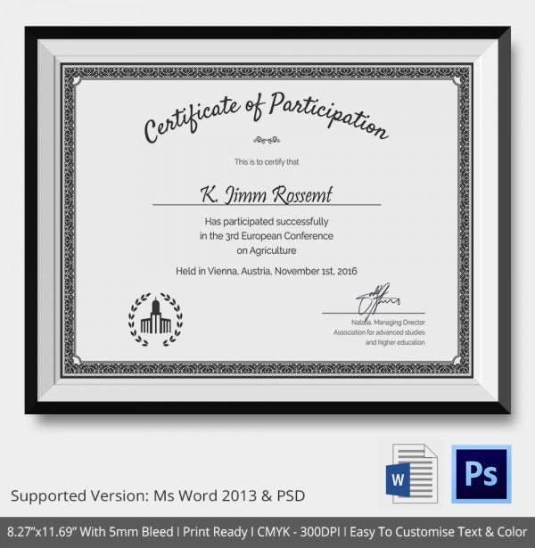 Certificate Participation Template Download
