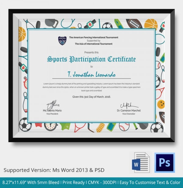 Sports Participation Certificate Template