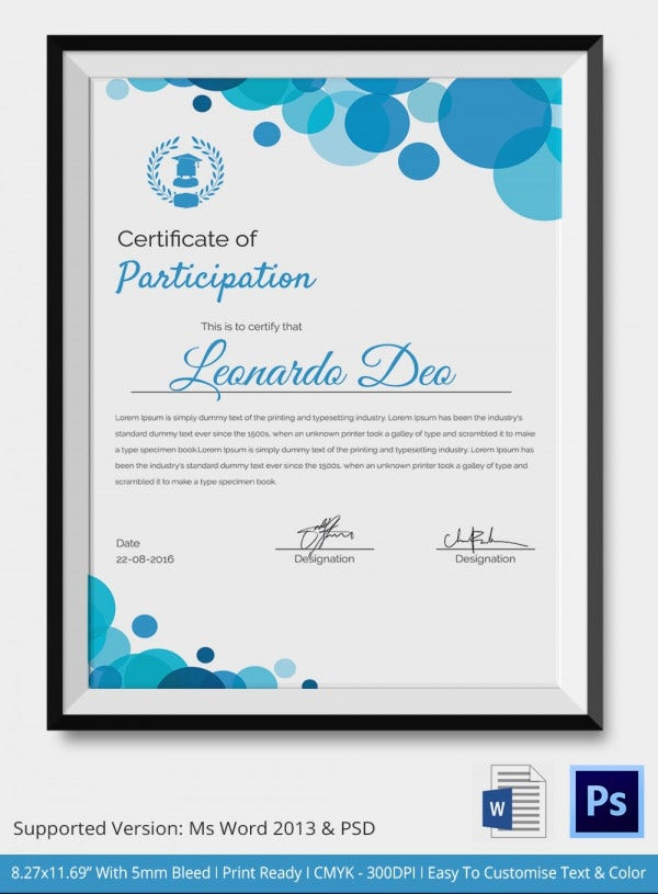 Participation Certificate Template 14 Free Word PDF PSD – Certificate of Participation Format