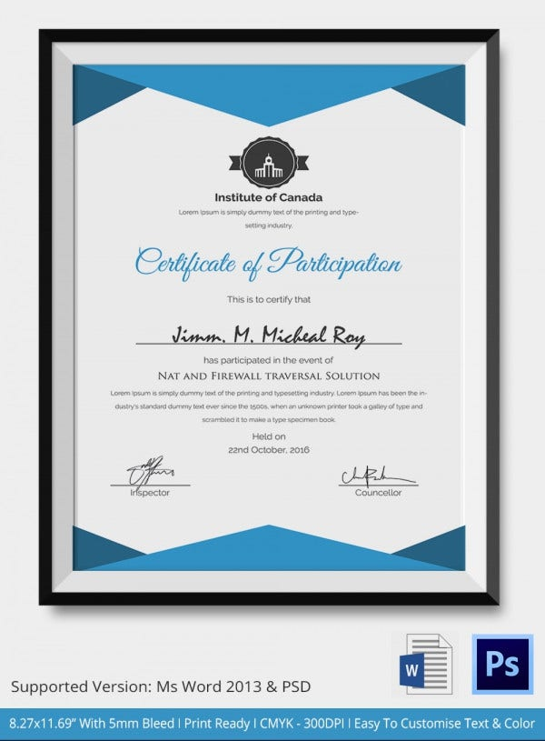 Formal Meeting Participation Certificate Template