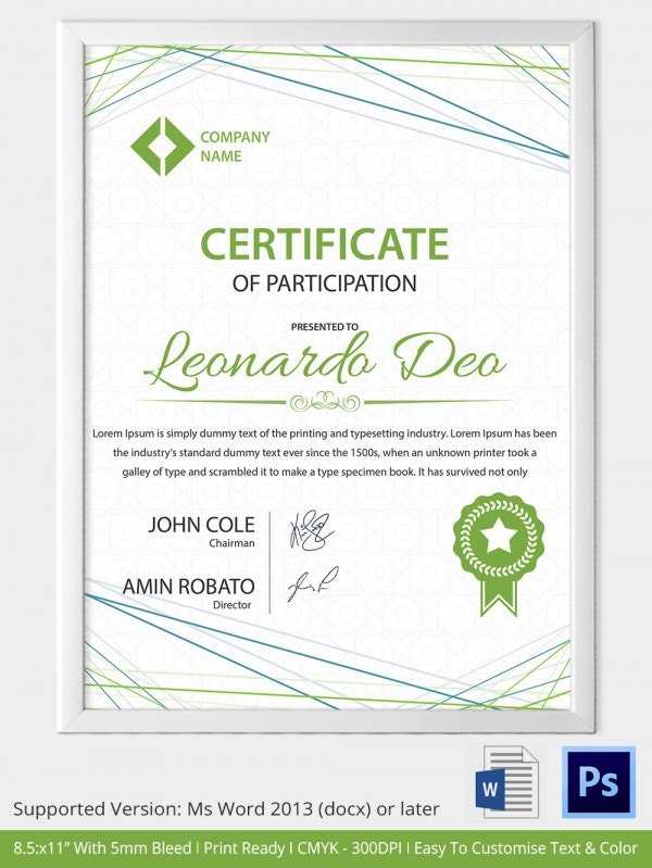 Certificate Of Participation Template Free Preschool Certificate Template 18 Free Word PDF PSD Format Download Free Premium Templates