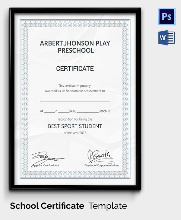 School Sports Achievement Award Template
