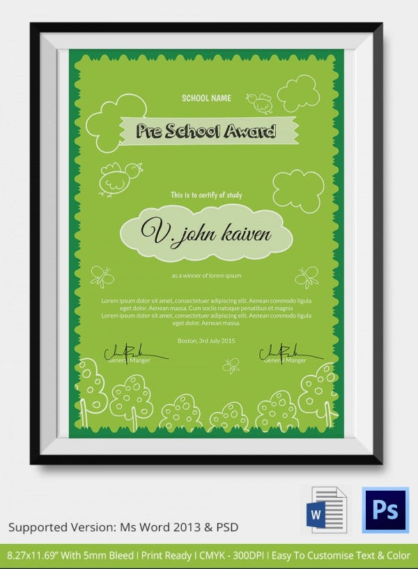 Preschool certificate template 18 free word pdf psd for Award certificate template free download