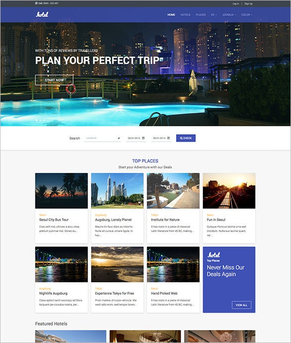 clean and simple bootstrap 3 joomla hotel and travel template