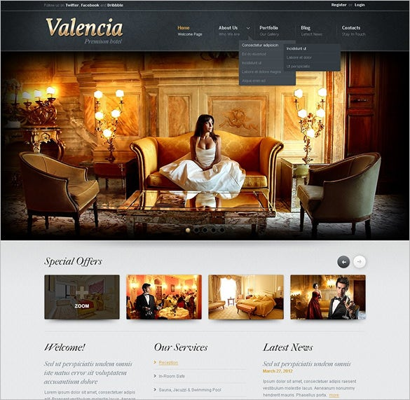 bright k2 component hotels joomla template