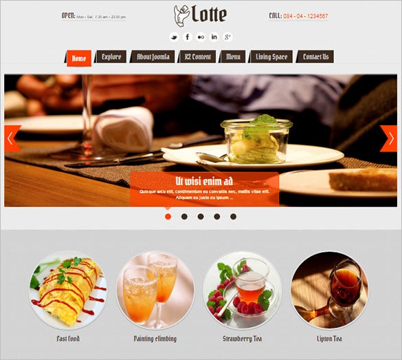 completely new design 3 types of menu restaurant joomla template