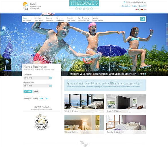 premium parallax background joomla theme for hotels booking