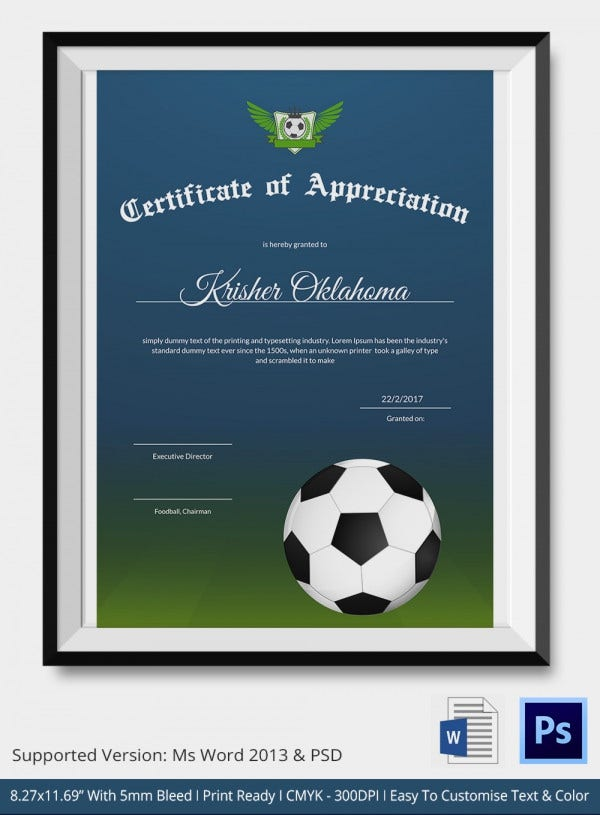 Sports certificate in pdf certificate of appreciation template 10 football certificate templates free word pdf documents yadclub