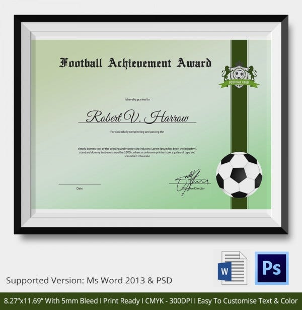 10+ Football Certificate Templates - Free Word, Pdf Documents