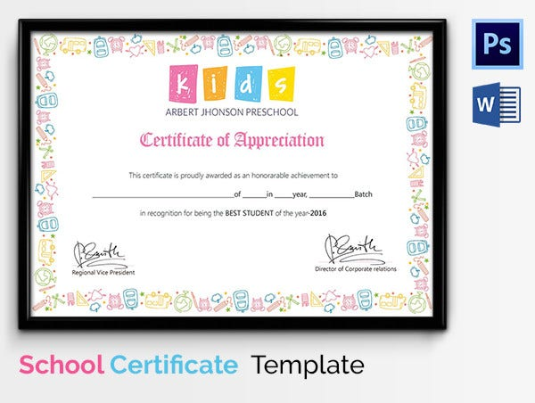 Certificate of SchoolAppreciation for Kids