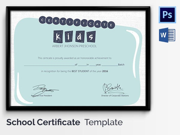 Best School Student of the Year Certificate Template