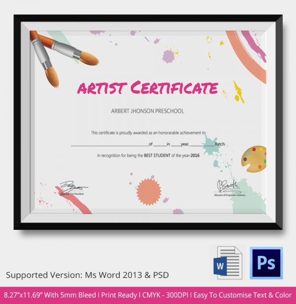 Artist Award School Certificate Template Download