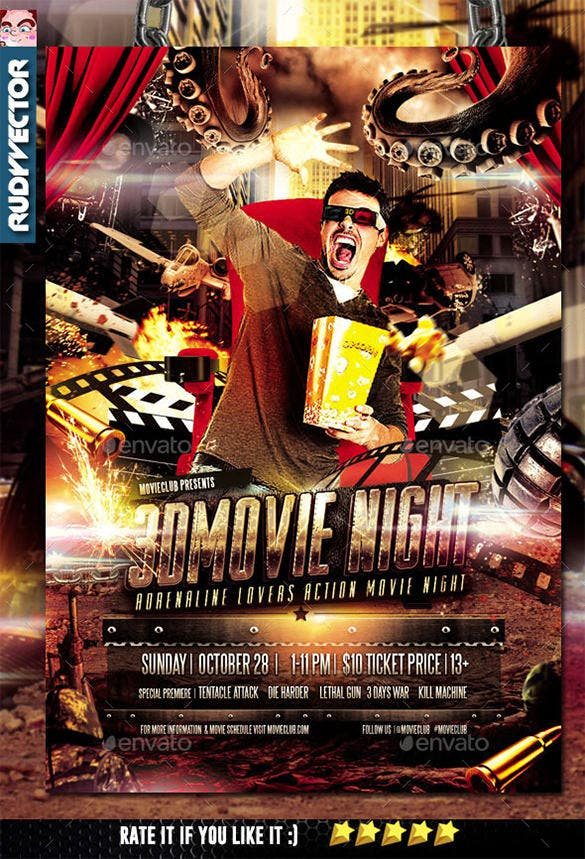 Action Movie Night Flyer Design Template U2013 $6