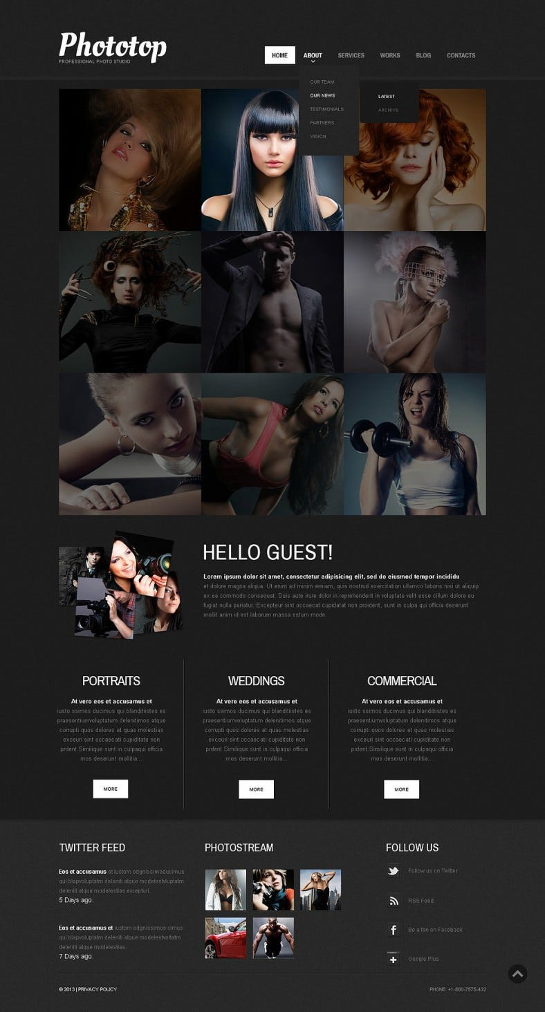 Multi Color Options WordPress Theme for Photo Studio