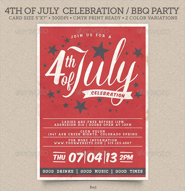 4th of july bbq party invitation template