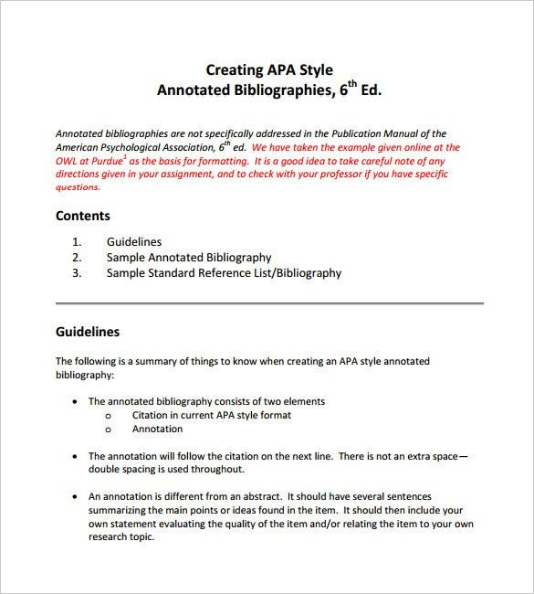 annotated bibliography apa template 6th edition