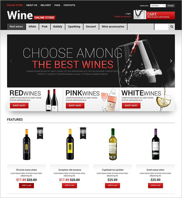 a glass of wine virtuemart template