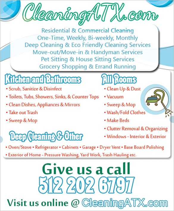 photograph regarding Free Printable House Cleaning Flyers identified as 20+ Dwelling Cleansing Flyer Templates within Phrase, PSD, EPS Vector