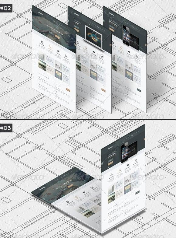 a4 paper mockup isometric design