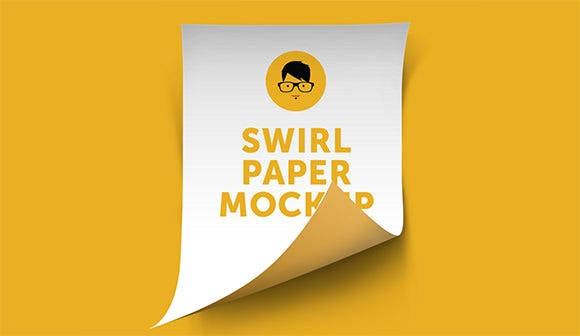 a4 swirl paper mockup on yellow background