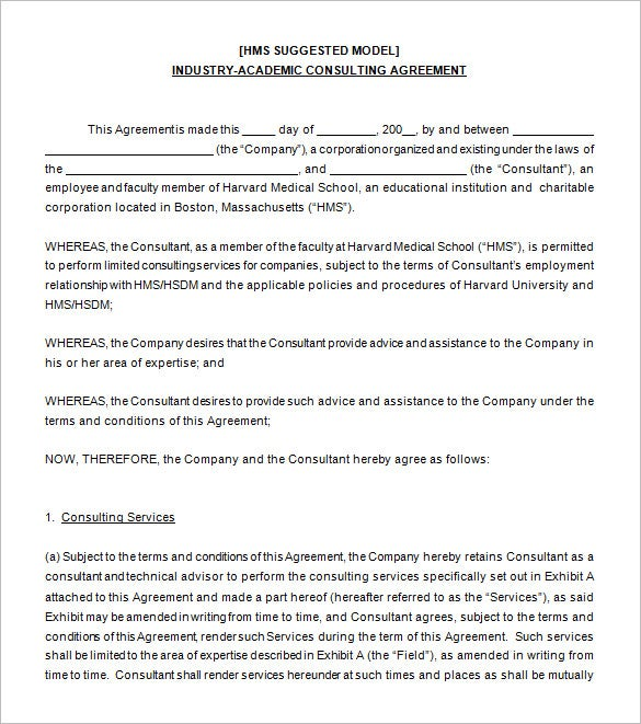 Consultant Agreement Agreement For Contracted Services