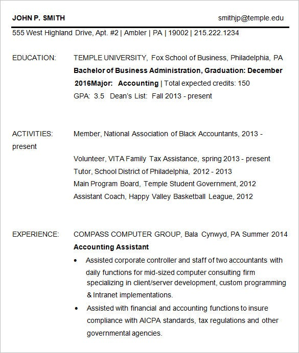 Accounting Business Resume Template  Business School Resume Template