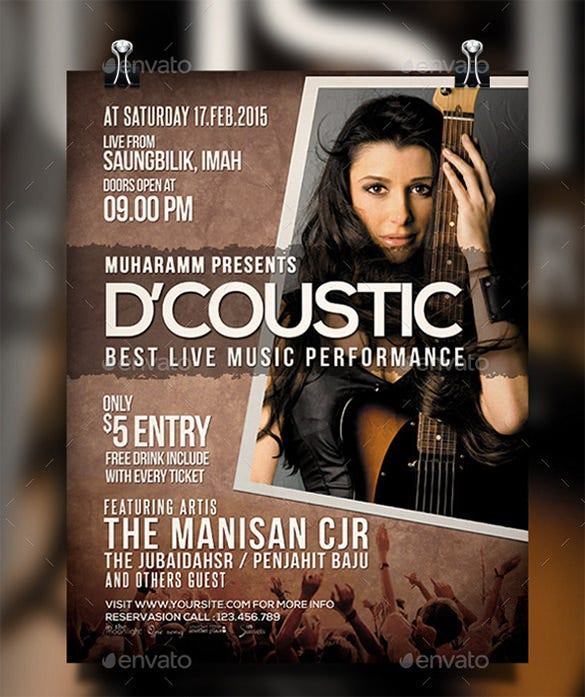acoustic concert poster psd vol