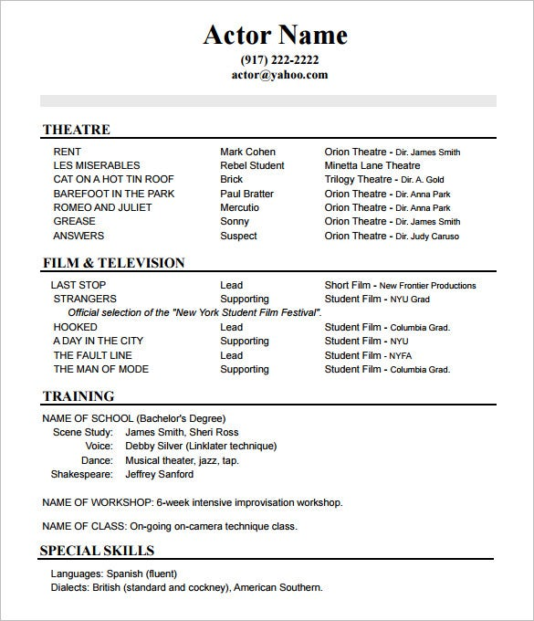 10 Acting Resume Templates Free Samples Examples Formats – Resume Template