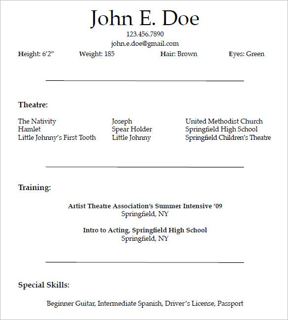 acting resume template for free - Resume Format For Actors