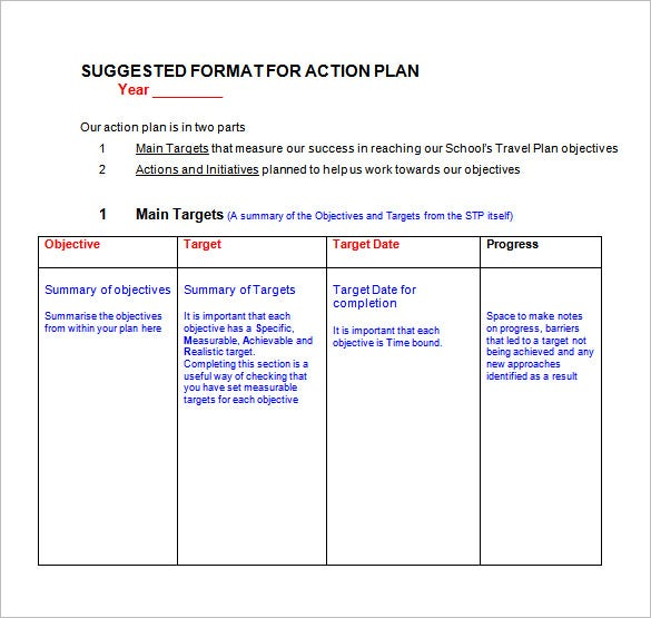 Action Plan Format In Microsoft Doc  Example Action Plan Template