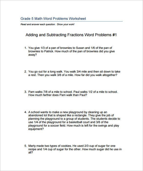 15 Adding And Subtracting Fractions Worksheets Free PDF – Fractions Word Problems Worksheets