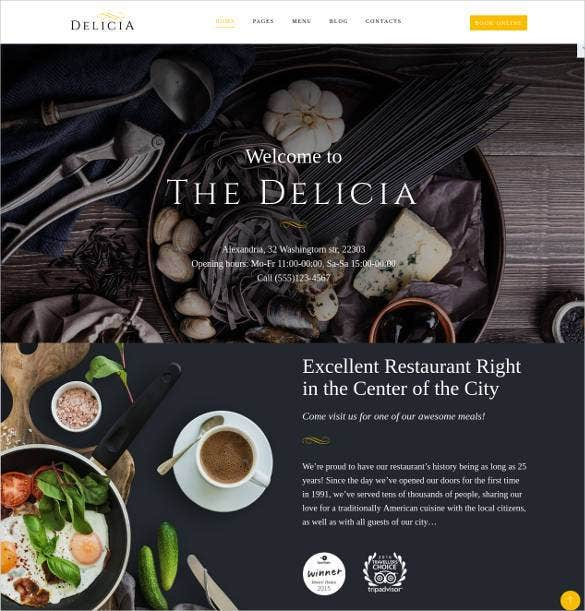 admin panel restaurant html 5 website template1