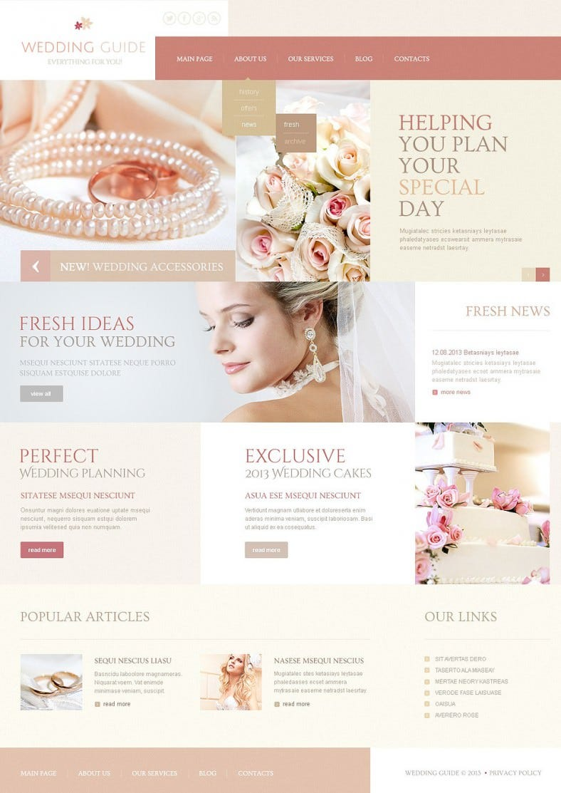 Advanced HTML & JS Wedding Planner Joomla Theme