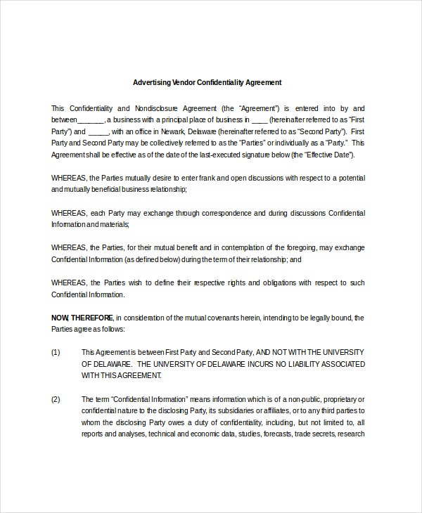 Advertising Vendor Confidentiality Agreement Template