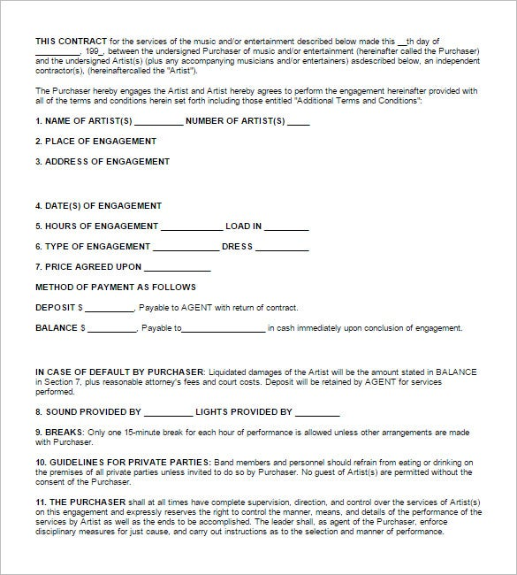 11 booking agent contract templates free word pdf for Musicians contract template