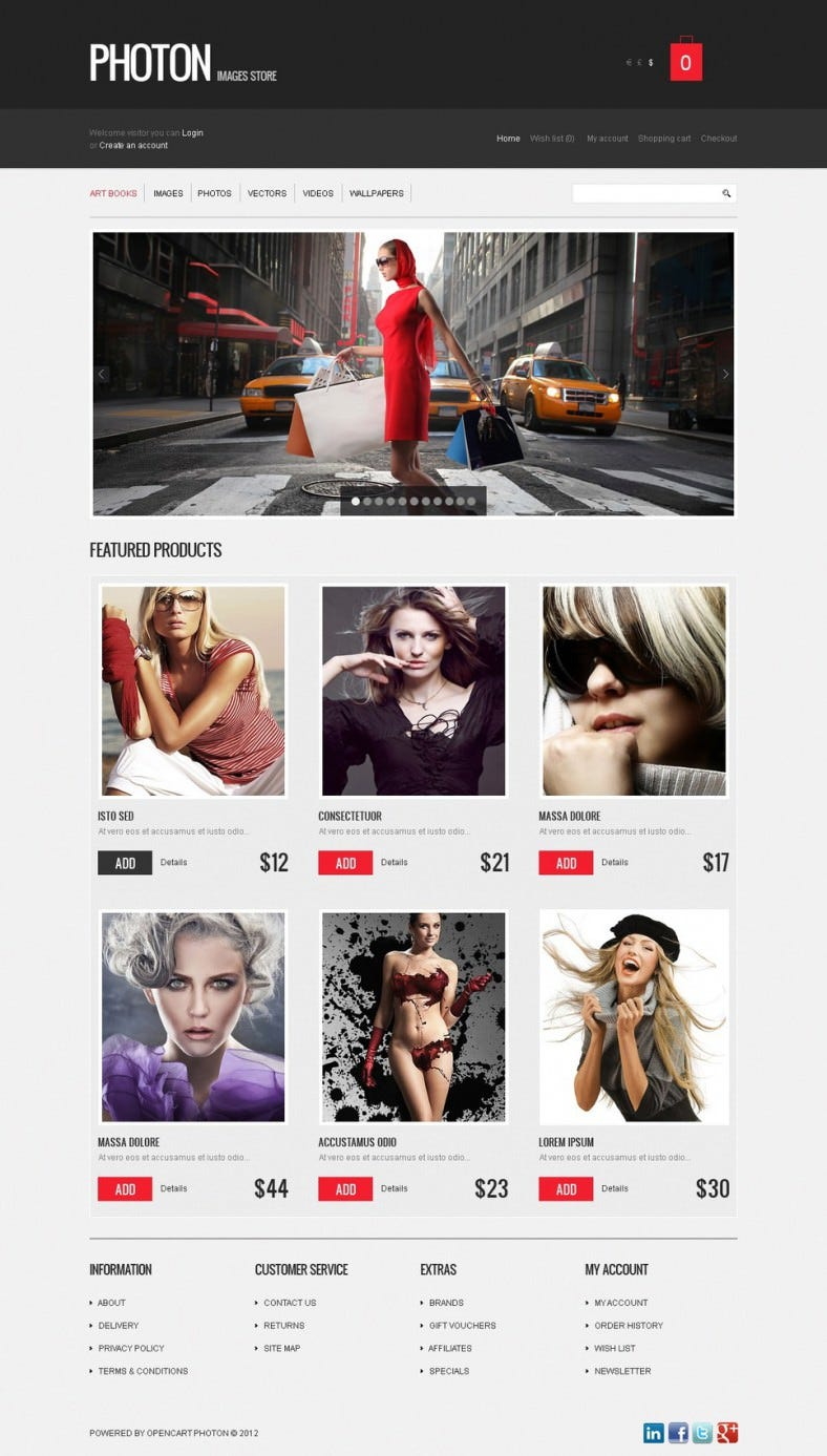 Amazing Art Store Open Cart Theme with J Query